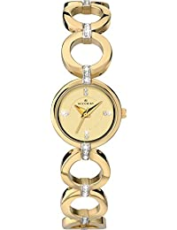 Accurist Ladies Gold Stone Set Dial Analogue Display With Gold Stone Set Stainless Steel Bracelet 8058