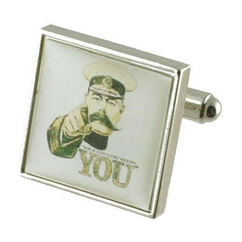 Kitchener Guerre Mondiale 1 Boutons de manchette Boutons de manchette pour hommes en argent massif 925 + Boîte Message gravé personnalisé gratuit