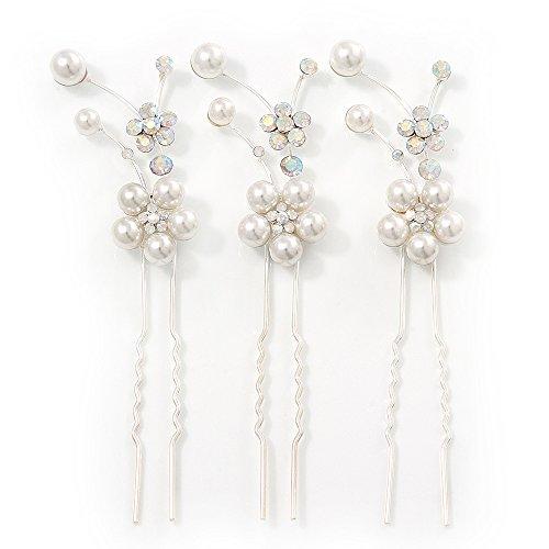 Bridal/matrimoni, feste e balli-Set di 3-Catenina placcata al rodio con cristalli e fiori (Wedding Pearl Tema)