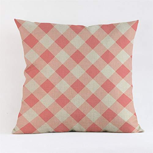 HLZLA Rosa Plaids Streifen Herz drucken dekorative Kissen für Sofa Auto wohnkultur Baumwolle leinen Platz dekokissen -