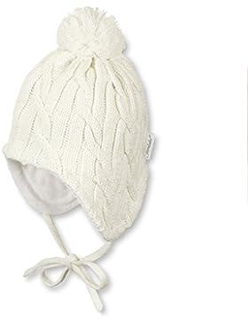 Sterntaler Mütze mit Bommel und Zopfmuster