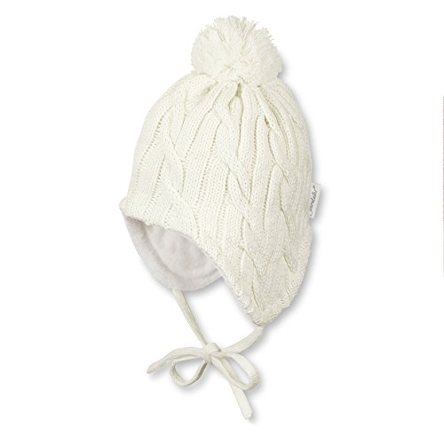 Sterntaler Unisex Mütze mit Bommel, Ohrenklappen, Bindebändern und Zopfmuster, Alter: ab 9-12 Monate, Größe: 47, Beige (Ecru)
