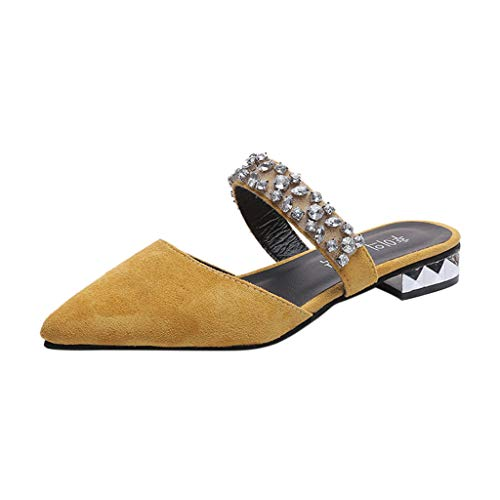 Damen Sandalen Casual Klassische Damen Wohnungen Schuhe Urlaub flach Mode Halbschuhe elegant Outdoor Frauen Segelschuhe Funkelnde Rutschfeste Stilvoll Party Pumps mit Strass (42, Gelb)
