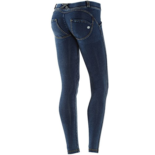 Freddy WR.UP Damen Pushup Denim - Low Waist Skinny mit Denim Effekt - dunkle Waschung gelbe Nähte (M, J0Y/dunkelblau) -
