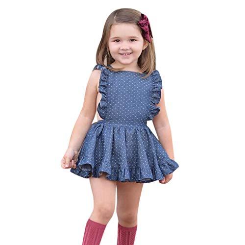 y mädchen fliegen hülse Kleider Feste Kleid Kleidung,MäDchen Outfits Kleidung Kurzarm Fliegendes Kleid FüR Kinder Mit Blumendruck Kind Blumen Gedruckt Dress (90, Blau) ()