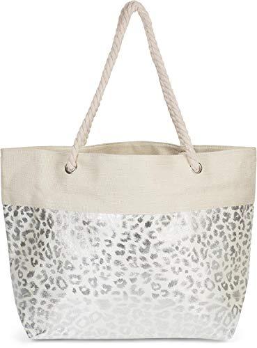 Leopard Print Canvas Handtasche (styleBREAKER Damen XXL Strandtasche mit Metallic Leoparden Animal Print und Reißverschluss, Schultertasche, Shopper 02012282, Farbe:Beige-Silber)
