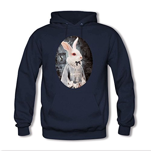 HGLee Printed DIY Custom Art rabbit Women's Hoodie Hooded Sweatshirt Navy--2