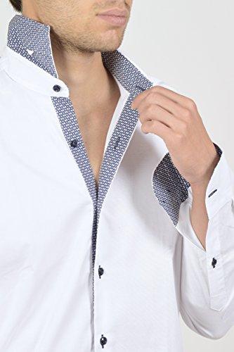 Camicia uomo classica, 100% cotone, made in Italy BIANCO INSERTI POPELINE