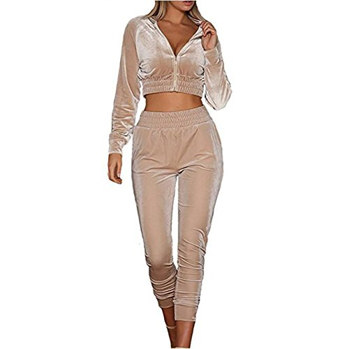 Femmes Survêtement Combinaison Dames Velours Combinaisons Sportswear Survêtements Combinaison 2 Pièce Ensemble Juleya Abricot
