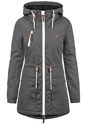 Desires tilonga giacca lunga parka giubbini da donna con cappuccio, taglia:xl, colore:dark grey (2890)