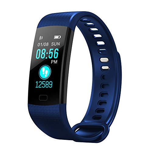 Fitness Armbanduhr/Dorical Aktivitätstracker Schlafmonitor Wasserdicht Sport Tracker Schrittzähler mit Pulsmesser Kalorienzähler Uhrren für Kinder Damen Herren Vibrationsalarm mit iOS Android(Blau)