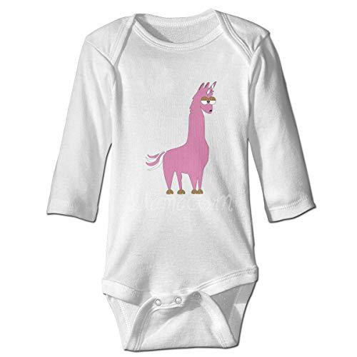 Lama Neugeborene Mädchen Jungen Kind Baby Strampler Langarm Kleinkind T-Shirts(6M,Weiß) -
