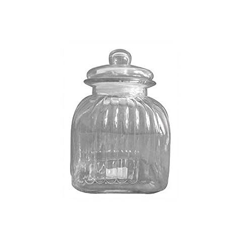 Bocal de rangement en verre strié Vintage Style Candy–24cm 24x