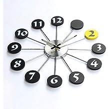 YHEGV Reloj de Pared de Silencio Maravilloso salón Luminoso Moda Mute Modernos Relojes de Alarma