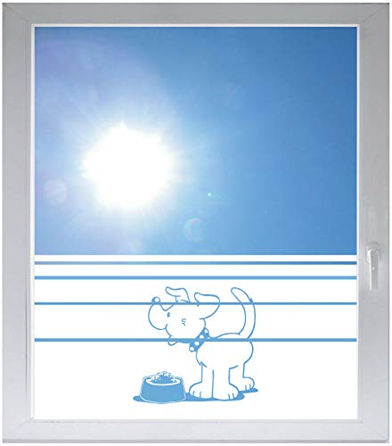 INDIGOS UG Sichtschutzfolie Glasdekorfolie Fensterfolie mit Motiv satiniert Blickdicht - E696 fressender Hund - 1200 mm Länge - 500 mm Höhe Streifen - Satiniert Mit Streifen