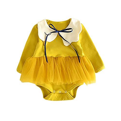 (IZHH Kinder MäDchen Rock Set Baby MäNnlich Baby MäDchen LangäRmeligen Swan Mesh Rock Kittel Einteiliger Anzug + LäTzchen Zweiteilig Neugeborenes Baby MäDchen Swan Feste Kleidung(Gelb,100))