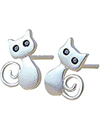 3f07531c3 DaoRier Cute Kitty Lovely Cat Sterling Silver Earring Stud Earring for Girls  Women