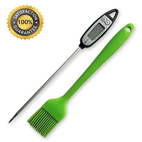 COSI Set: Grill-Thermometer und GRATIS Silikon-Pinsel. Digital Fleisch-Thermometer mit extra langer Sonde und LCD für Haushalt und Grill