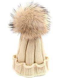 TININNA Chapeau Bonnet Tricotés en Laine Artiste Francais Automne Hiver  Chaud Hat Cap pour Bébé Beige 60befe166da
