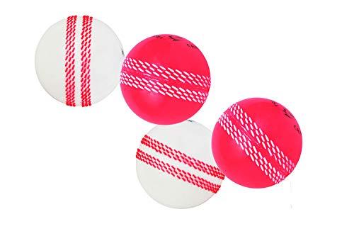 Kosma Set von 4 Wind Ball Cricket Ball | Weiche Trainingsbälle | Sport & Freizeit (2 STK. Weiß mit rosa Naht & 2 STK. Rosa mit weißer Naht)