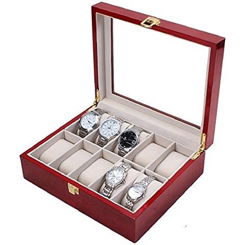 Sannysis Cajas para relojes Joyería con 10 compartimentos madera de cerezo color rojo