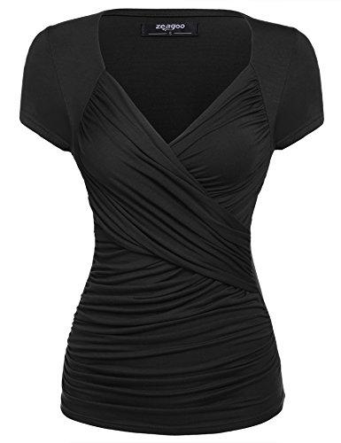 Zeagoo Damen Sexy V-Ausschnitt Kurzarm Blusen Oberteile Shirt mit Rüschen