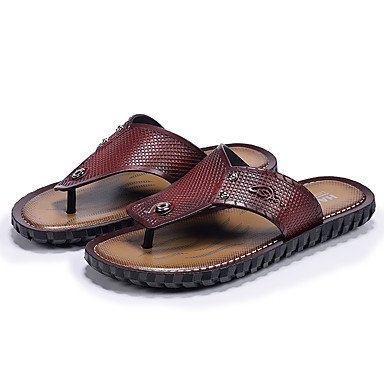 Slippers & amp da uomo; Estate Comfort Light Soles microfibra esterna casuale Tallone piano Brow scuro sandali US9.5 / EU42 / UK8.5 / CN43