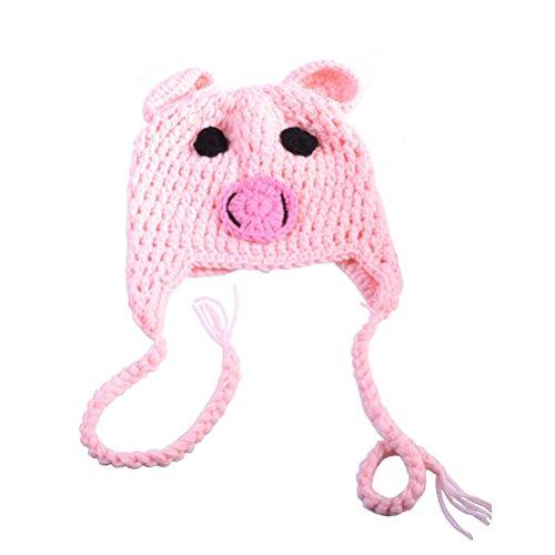 PIXNOR Baby Säugling Neugeborenes Fotografie Requisiten Baby Mütze Hut - niedliche Schwein Stil