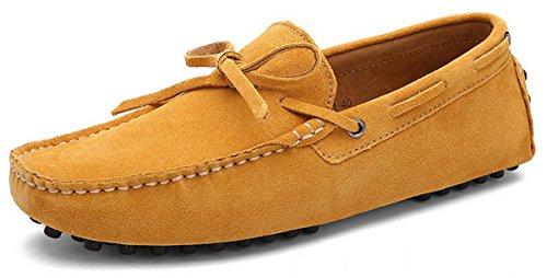 Joomra mocassins scarpe da uomo casual cuoio eleganti estivi nappine pelle senza lacci barca pantofola giallo 44