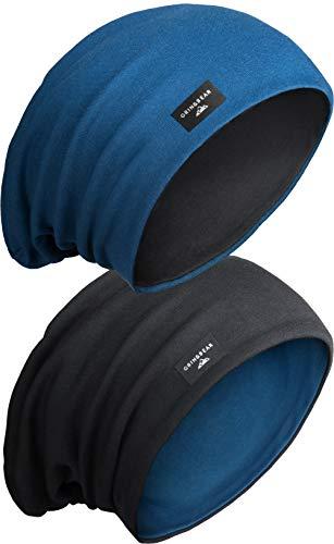 Grin&Bear Unisex Reversible (2 Farben) Lange Slouch Beanie Mütze M81-4 -