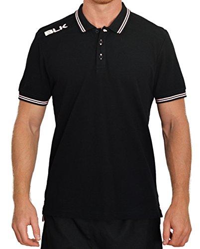 Blk Herren Polo Bekleidung Teamsport, schwarz/Weiß, S (Baumwoll-pique-rugby)