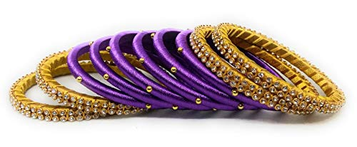 Sai Purple Colour Handmade Silk Thread Bangles Set for Women and Girls Traditional Bridal Jewellery Sets with Stone Work Zircon Metal Bracelet (Pack of 10 Bangle)