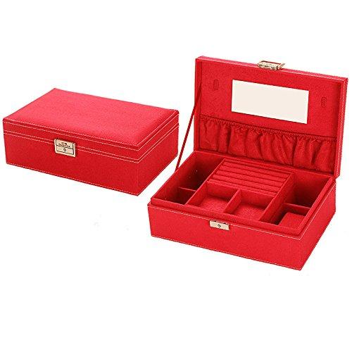 Schmucksache-Kasten, hölzernes Gürtel-Verschluss, doppelter Plattform-Schmucksache-Kasten, Handschmucksache-Ansammlungs-Kasten, Juwel-Kasten, 20 × 15.5 × 10Cm, (helles Rot) doppeltes Deck Bulk Kunststoff-juwelen