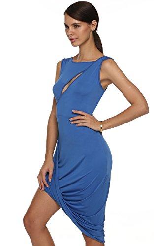 CRAVOG Cocktailkleid Partykleid Kleid Sexy O Ansatz ärmel aushöhlen Brust Blau