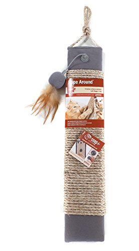 Petlinks Rope Around Sisal Wrapped Scratcher with Refillable Catnip Pocket and Toy 2