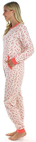 Frankie & Johnny Schlafanzug für Damen aus dickem Fleece, Onesie ohne Füße, Overall für Erwachsene, Einteiler Kaugummi