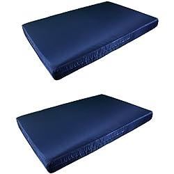 2 X Colchón Europalet para palet 120x80 cm en tela de diferentes colores. Fabricado en España. (Azul marino)