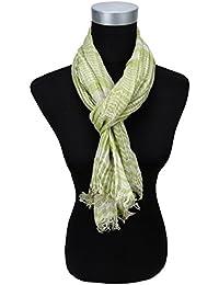Echarpe plissés en vert beige gris rayures avec franges - taille 160 x 60 cm 4551e4e89d3