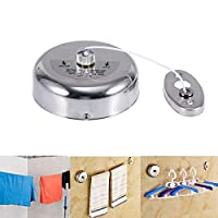 304 Stainless Steel Retractable Single Clothes Line Dryer Laundry Indoor Outdoor with Adjustable Stainless Steel Rope String Hotel Style Heavy Duty,9.2 Feets,Polished Chrome Finish, Round Style