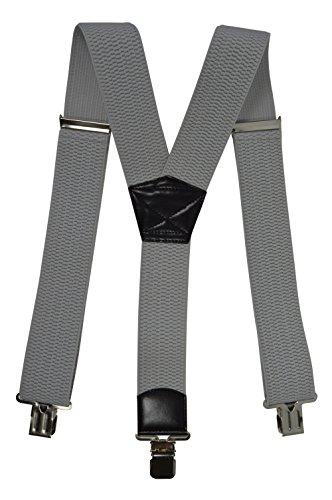 Bretelles XXL entièrement réglable Extra Fort avec 3 Clips, Tissu épais - 5cm Gris Clair