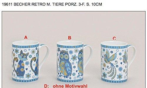 WURM Porzellantasse Kaffeebecher Serie: Retro, Color:B (Serie Wurm)