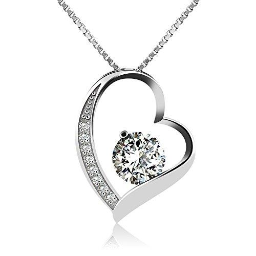 jrose-collar-de-plata-de-ley-con-diamante-para-mujercon-una-cajacon-colgante-plateado45cm-de-longitu