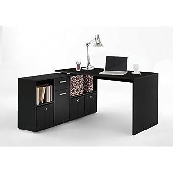 Eckschreibtisch schwarz  FMD Möbel Lex Schreibtisch-Winkelkombination, Holz, schwarz, 136 x ...