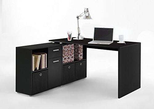 FMD Möbel 353-001 Schreibtisch-Winkelkombination Tisch ca. 136 x 75 x 68 cm, Regal ca. 137 x 71 x 33 cm