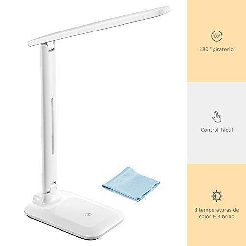 VicTsing - Lámpara Escritorio Flexo LED 5W (42 LED, Control Táctil, 3 Modos de Colores, 3 Niveles de Brillo, Temperatura del Color 3000-6000K) - Blanca