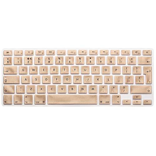 AUSMIX EU/UK Silikon-Tastaturschutz, staubdicht, waschbar, Skin Gel Tastaturschutz für alte MacBook Pro 13 Zoll / 15 Zoll / 17 Zoll/Air 13 Zoll und iMac Wireless Tastatur, Ombre Grau Pure Gold