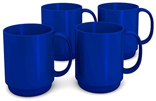 l blau, 4er Set | hochwertiger, stabiler Kaffeebecher aus Kunststoff mit Henkel | robustes Alltags-Geschirr für Kinder, Camping, Picknick, Gemeinschaftsverpflegung, Großküchen, Institutionen  | Kaffeetasse, Mehrweg-Becher, Teetasse (Kunststoff-becher Mit Henkel)