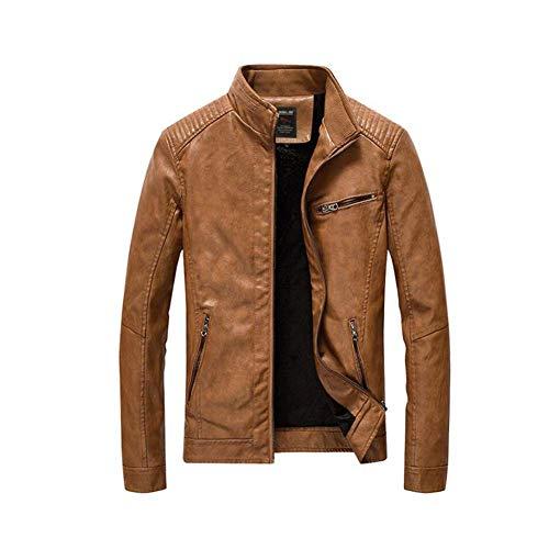 Fuweiencore giacca invernale da uomo in pelle pu autunno inverno 2018, giacca in pelle da motociclista sottile a tinta unita. capispalla classica (colore : earthy, dimensione : xl)