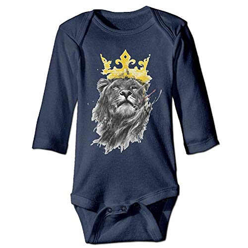 MSGDF Unisex Infant Bodysuits King of Lion Boys Babysuit Long Sleeve Jumpsuit Sunsuit Outfit Navy