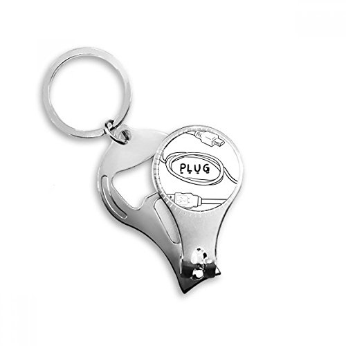 BeatChong Datenkabel USB-Stecker Linie Hand-Zeichnung Schlüsselanhänger Ring Multifunktionsnagelknipser Flaschenöffner Geschenk
